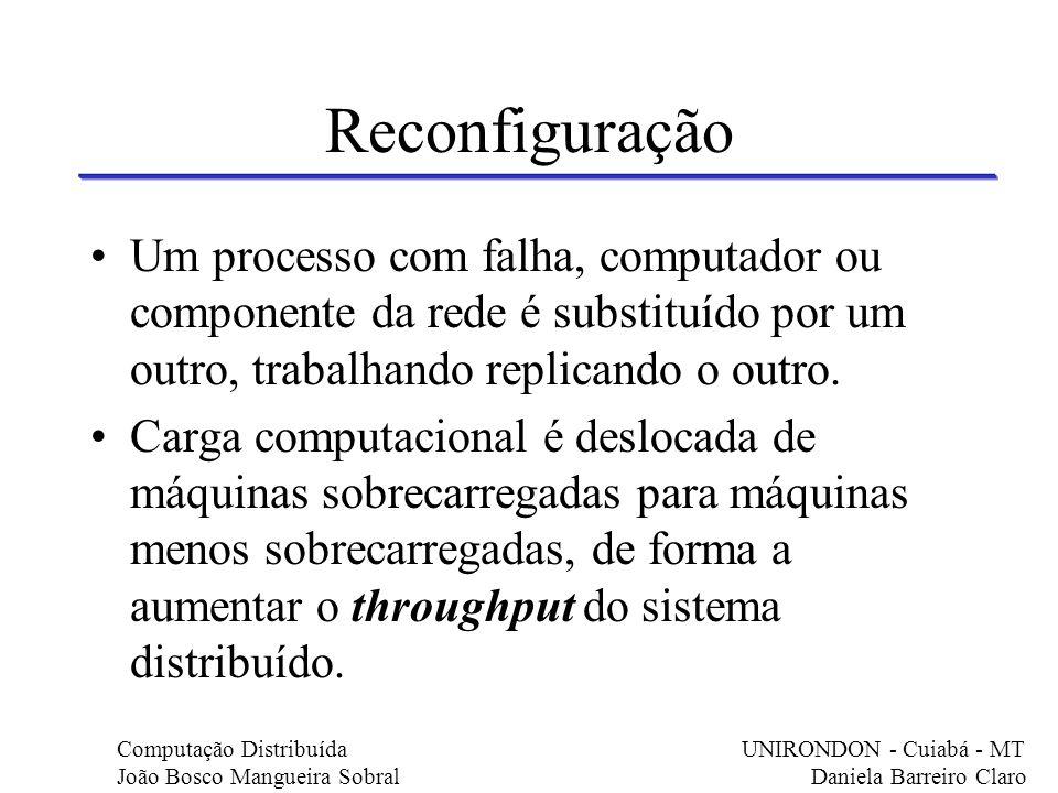 Reconfiguração Um processo com falha, computador ou componente da rede é substituído por um outro, trabalhando replicando o outro.