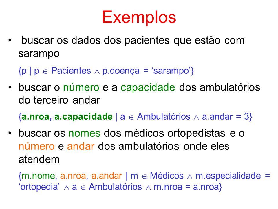 Exemplos buscar os dados dos pacientes que estão com sarampo