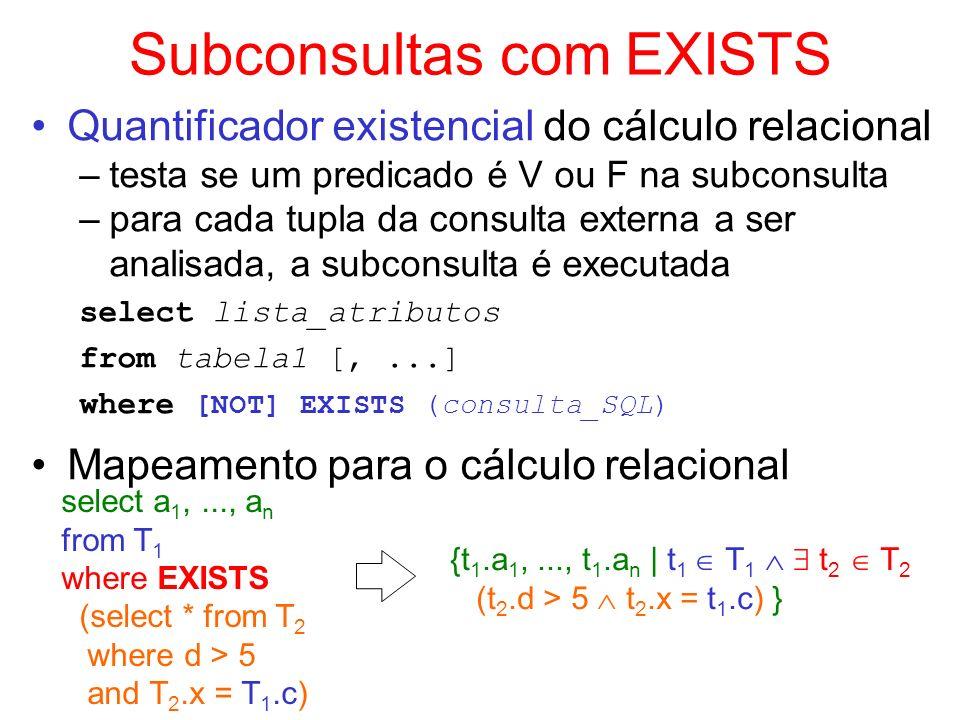 Subconsultas com EXISTS