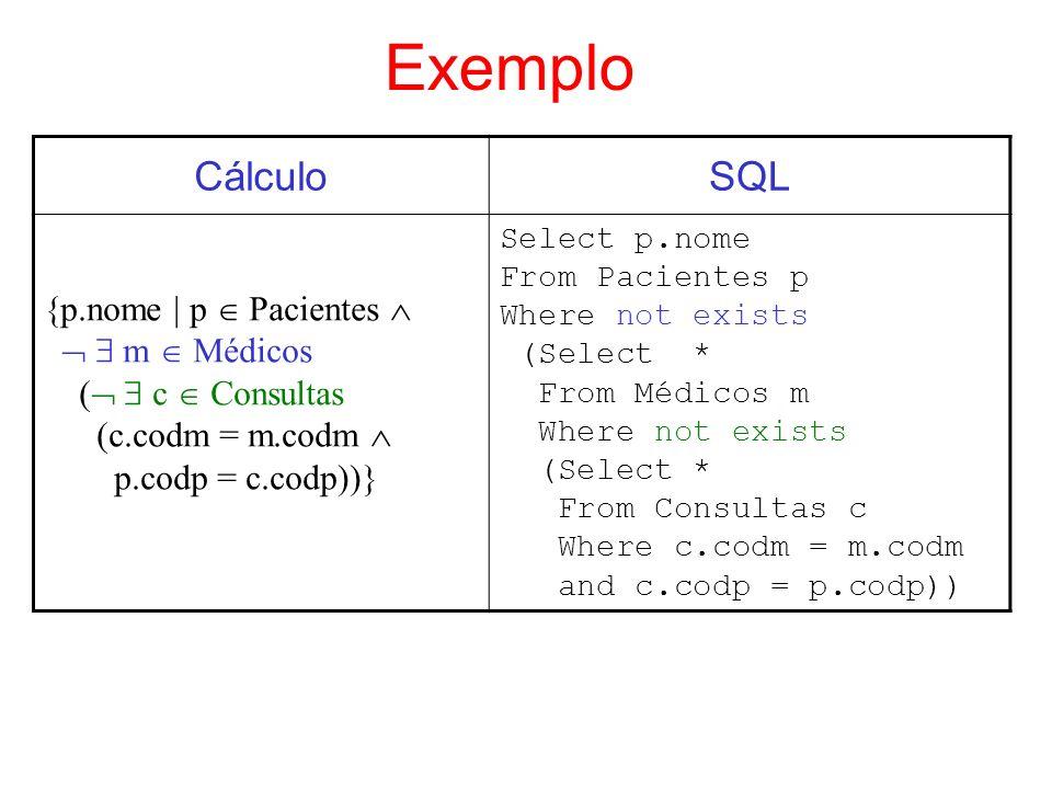 Exemplo Cálculo SQL {p.nome | p  Pacientes    m  Médicos