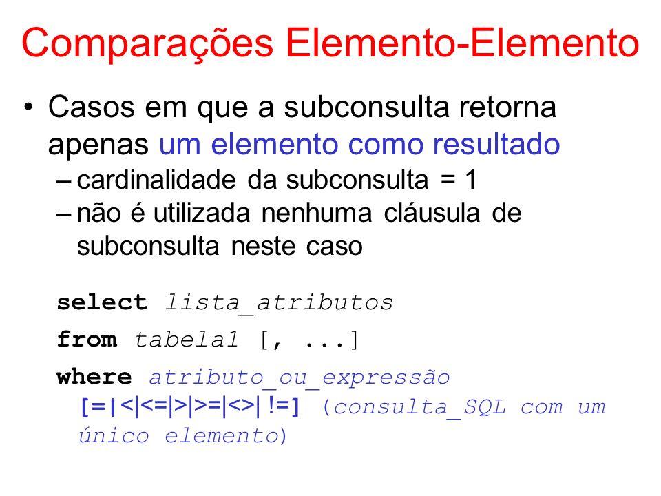 Comparações Elemento-Elemento