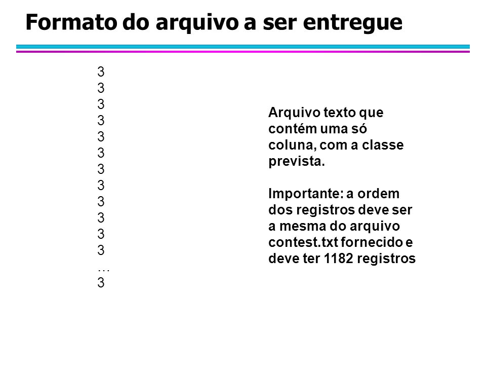 Formato do arquivo a ser entregue