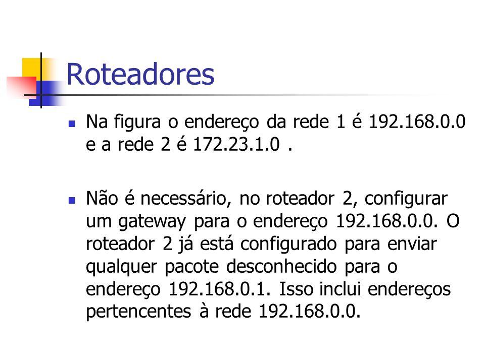 Roteadores Na figura o endereço da rede 1 é 192.168.0.0 e a rede 2 é 172.23.1.0 .