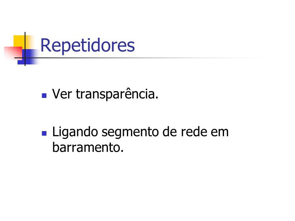 Repetidores Ver transparência. Ligando segmento de rede em barramento.