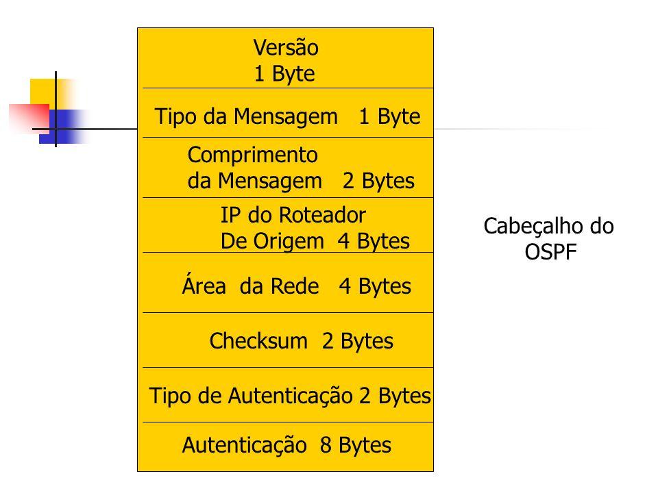 Versão 1 Byte. Tipo da Mensagem 1 Byte. Comprimento. da Mensagem 2 Bytes. IP do Roteador. De Origem 4 Bytes.