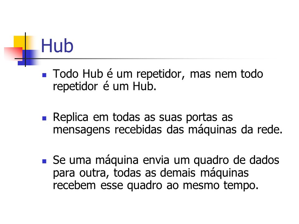 Hub Todo Hub é um repetidor, mas nem todo repetidor é um Hub.