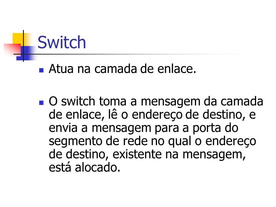 Switch Atua na camada de enlace.