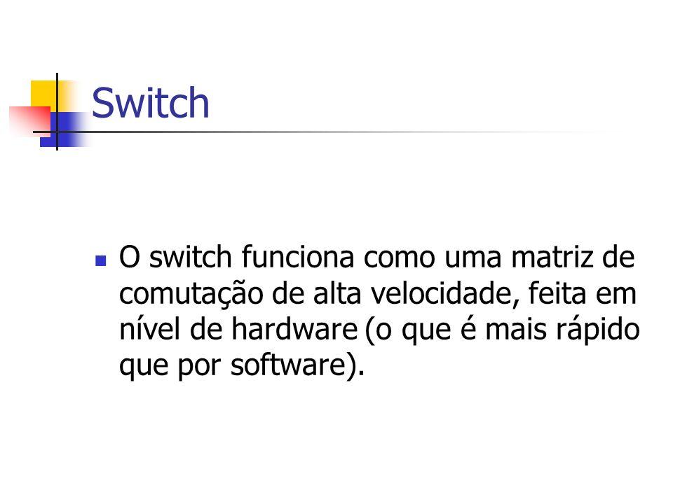 Switch O switch funciona como uma matriz de comutação de alta velocidade, feita em nível de hardware (o que é mais rápido que por software).