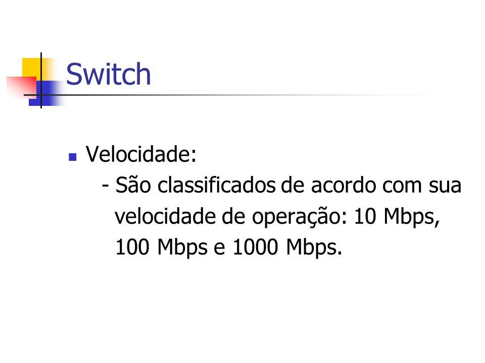 Switch Velocidade: - São classificados de acordo com sua