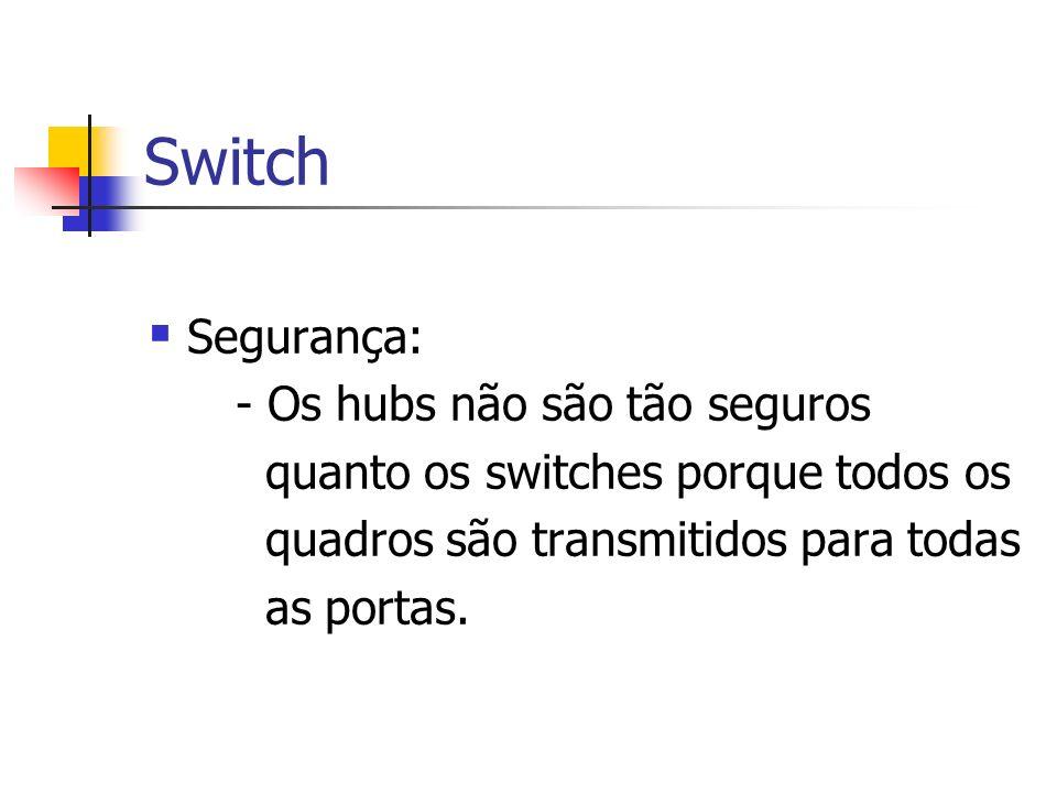 Switch Segurança: - Os hubs não são tão seguros