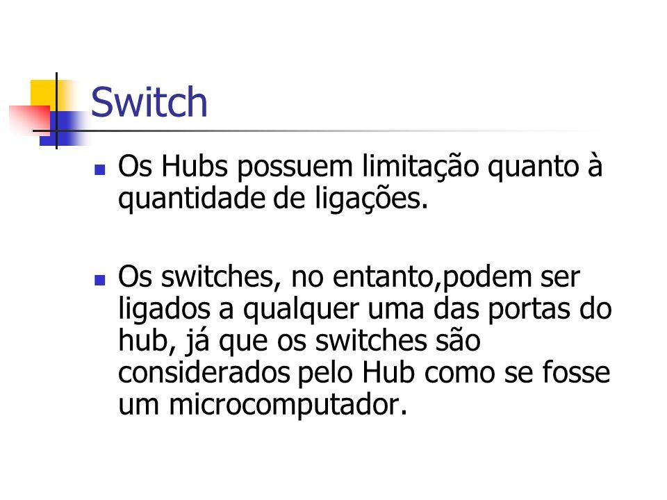 Switch Os Hubs possuem limitação quanto à quantidade de ligações.