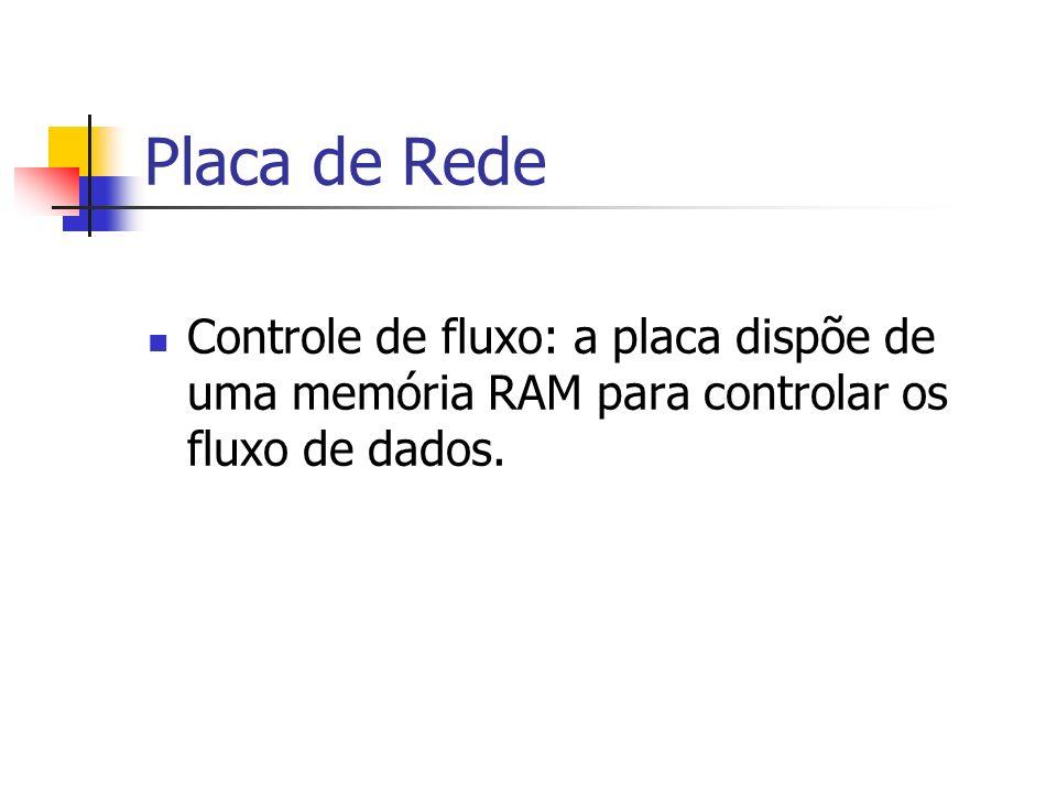 Placa de Rede Controle de fluxo: a placa dispõe de uma memória RAM para controlar os fluxo de dados.