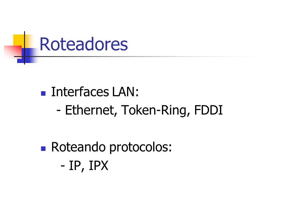 Roteadores Interfaces LAN: - Ethernet, Token-Ring, FDDI
