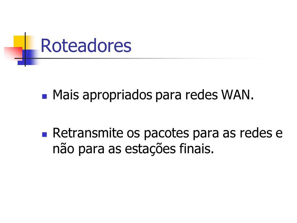 Roteadores Mais apropriados para redes WAN.