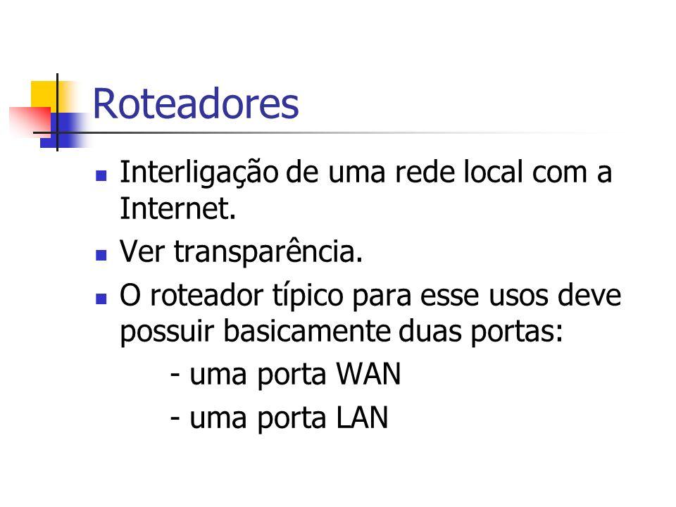 Roteadores Interligação de uma rede local com a Internet.