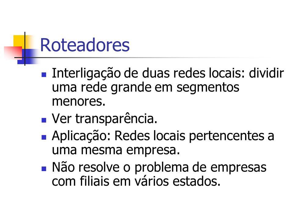 Roteadores Interligação de duas redes locais: dividir uma rede grande em segmentos menores. Ver transparência.