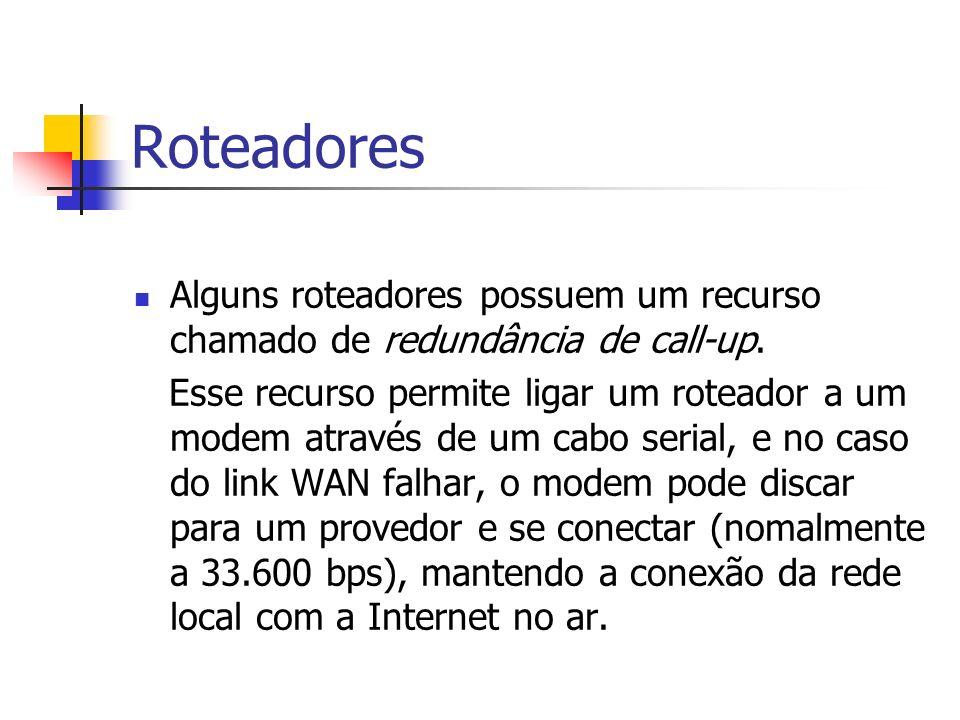 Roteadores Alguns roteadores possuem um recurso chamado de redundância de call-up.