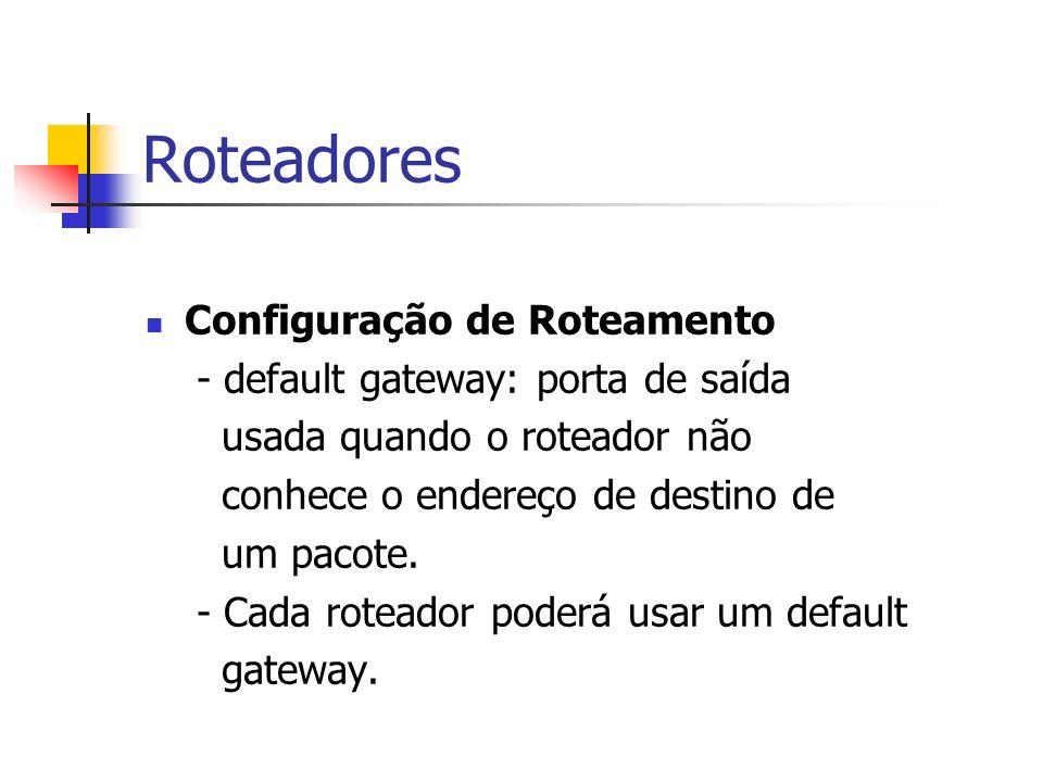 Roteadores Configuração de Roteamento