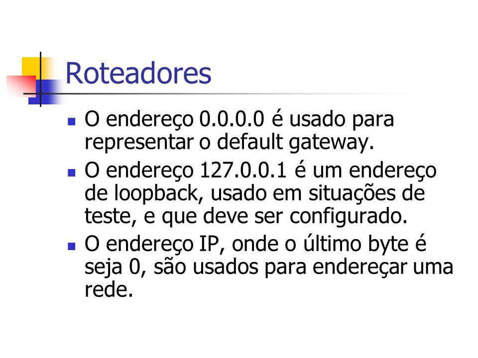 Roteadores O endereço 0.0.0.0 é usado para representar o default gateway.