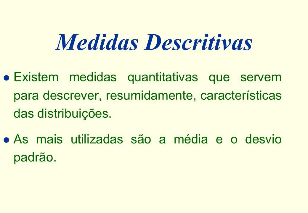 Medidas Descritivas Existem medidas quantitativas que servem para descrever, resumidamente, características das distribuições.