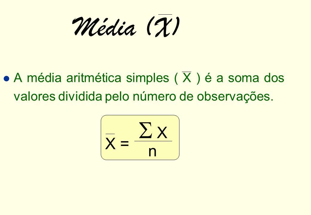 Média (X) A média aritmética simples ( X ) é a soma dos valores dividida pelo número de observações.