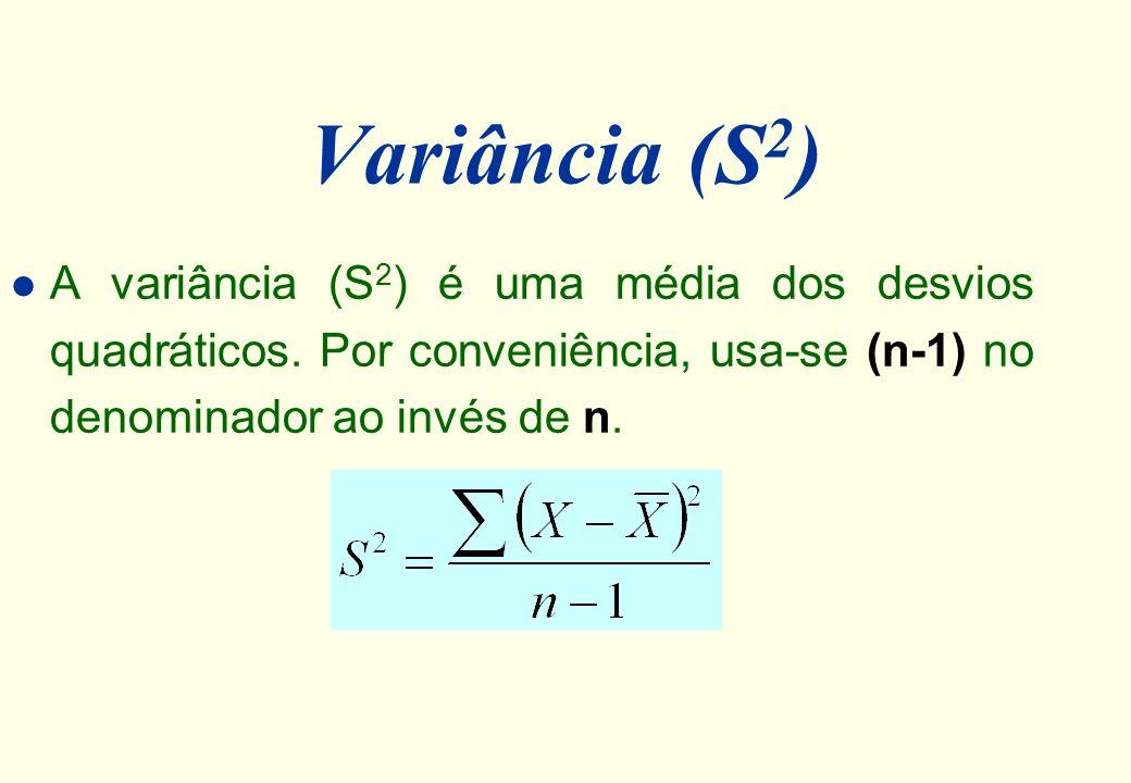 Variância (S2) A variância (S2) é uma média dos desvios quadráticos.