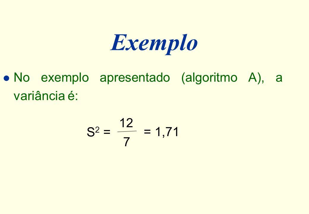 Exemplo No exemplo apresentado (algoritmo A), a variância é: 12 S2 =