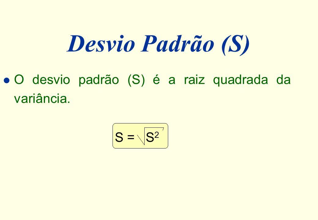 Desvio Padrão (S) O desvio padrão (S) é a raiz quadrada da variância.