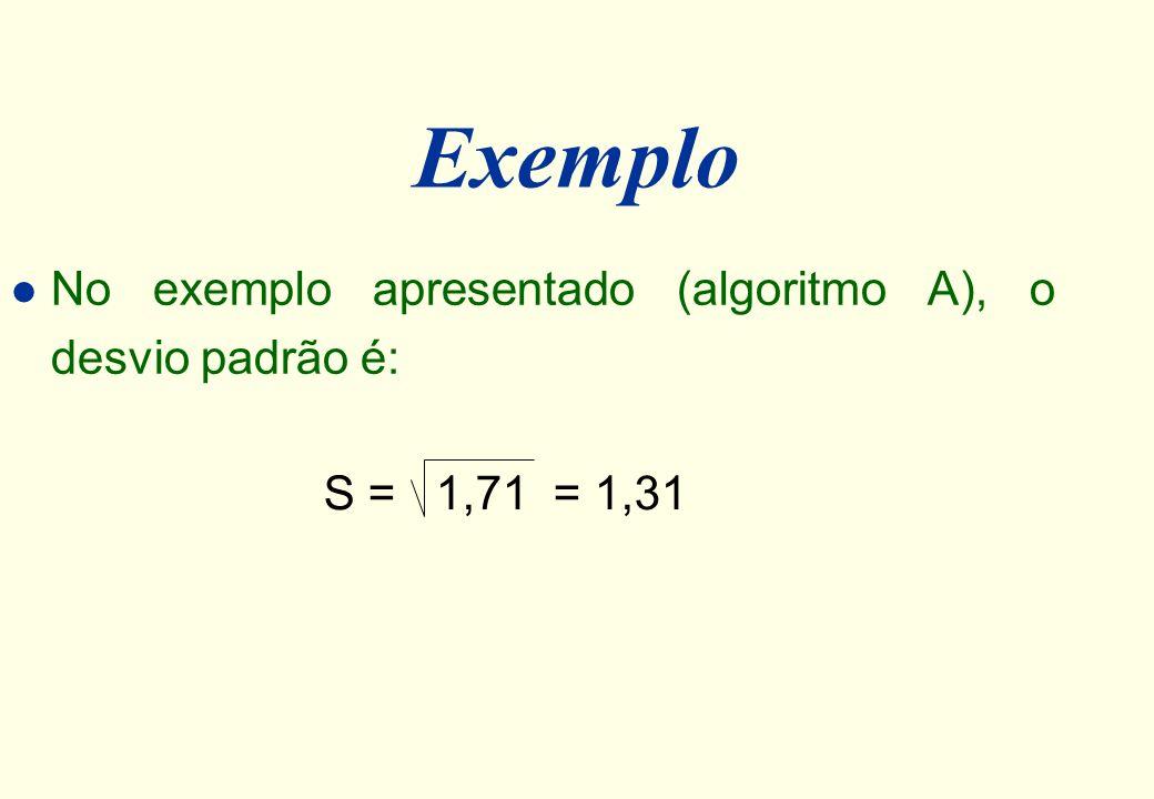 Exemplo No exemplo apresentado (algoritmo A), o desvio padrão é: