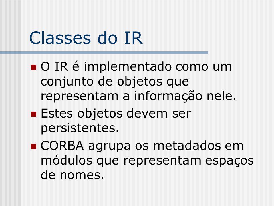 Classes do IRO IR é implementado como um conjunto de objetos que representam a informação nele. Estes objetos devem ser persistentes.