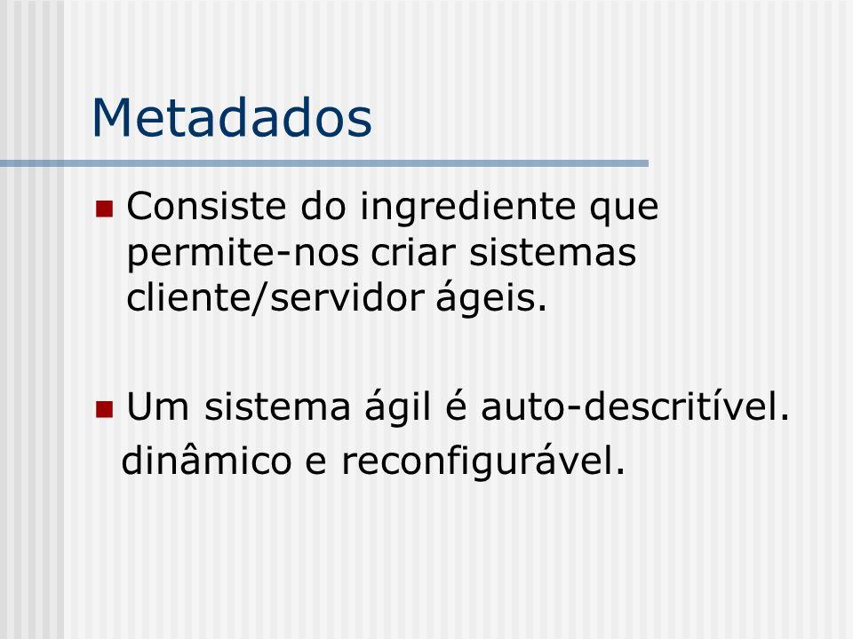 MetadadosConsiste do ingrediente que permite-nos criar sistemas cliente/servidor ágeis. Um sistema ágil é auto-descritível.