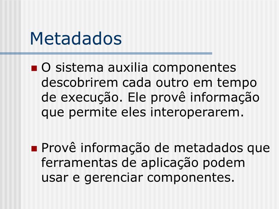 MetadadosO sistema auxilia componentes descobrirem cada outro em tempo de execução. Ele provê informação que permite eles interoperarem.