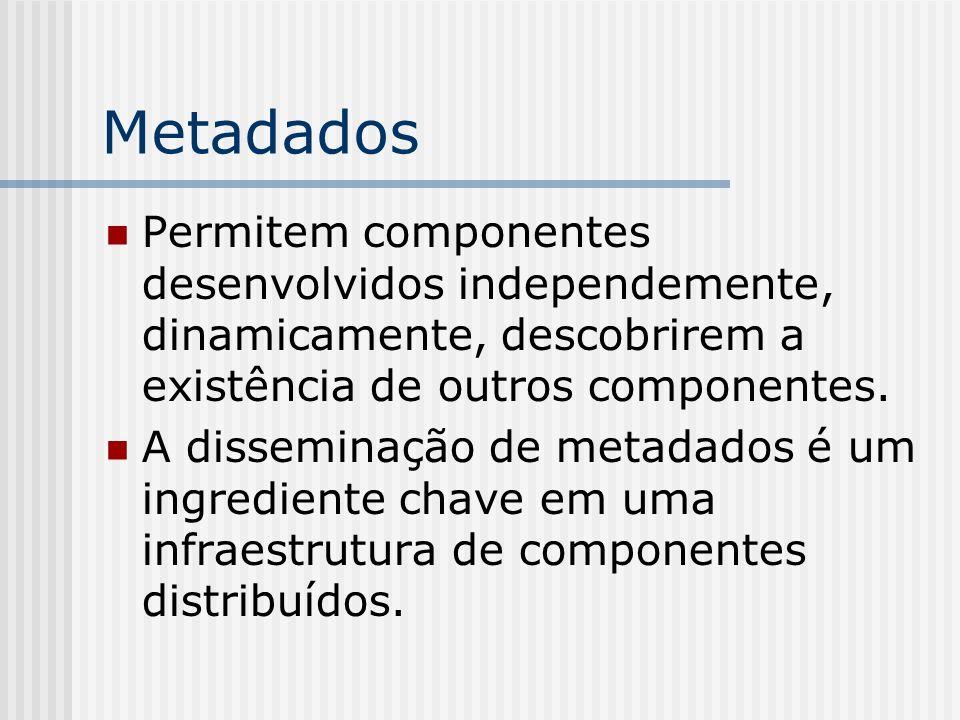 MetadadosPermitem componentes desenvolvidos independemente, dinamicamente, descobrirem a existência de outros componentes.