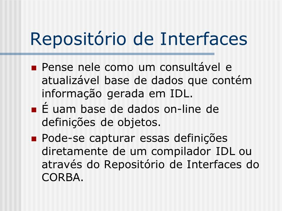 Repositório de Interfaces