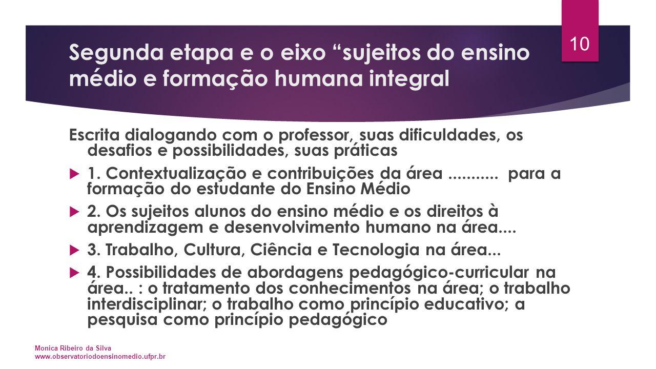 Segunda etapa e o eixo sujeitos do ensino médio e formação humana integral
