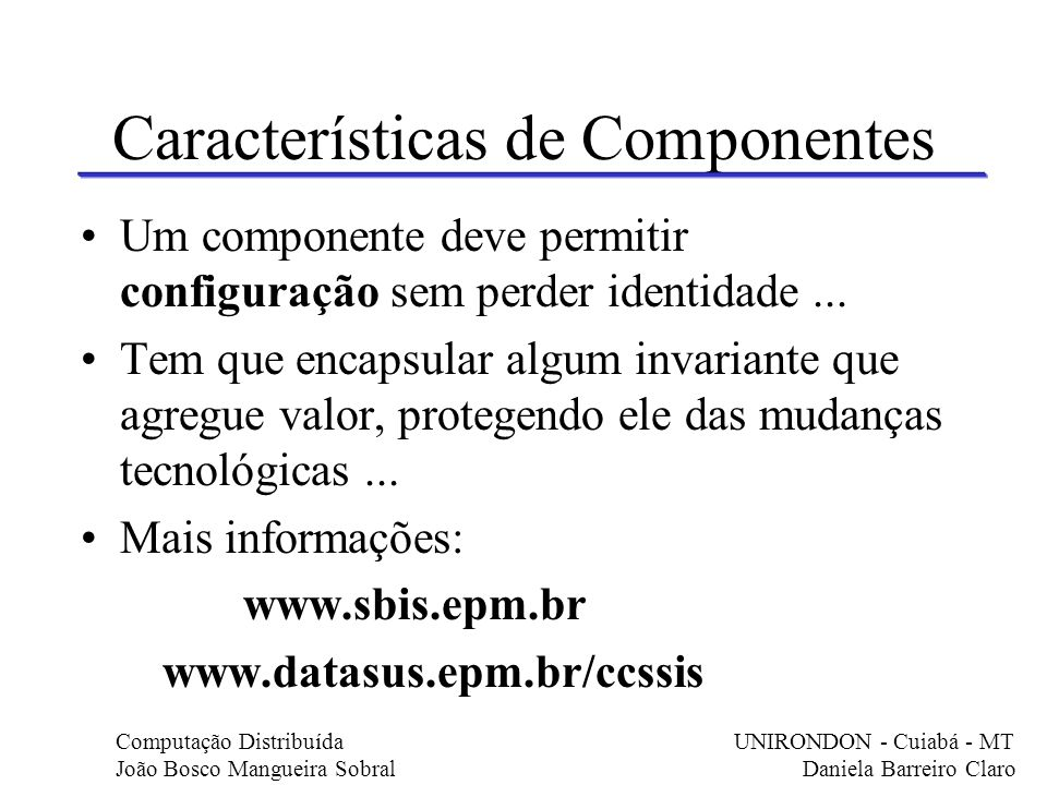 Características de Componentes