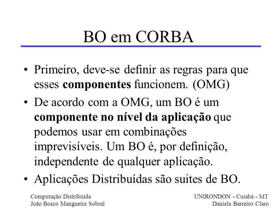 BO em CORBA Primeiro, deve-se definir as regras para que esses componentes funcionem. (OMG)