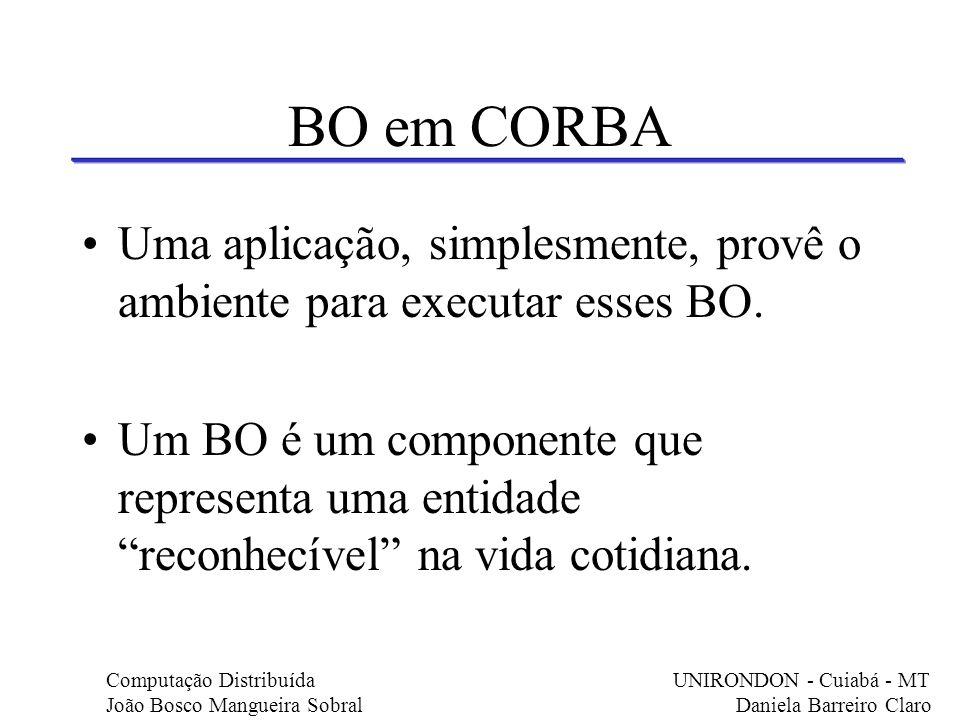 BO em CORBA Uma aplicação, simplesmente, provê o ambiente para executar esses BO.