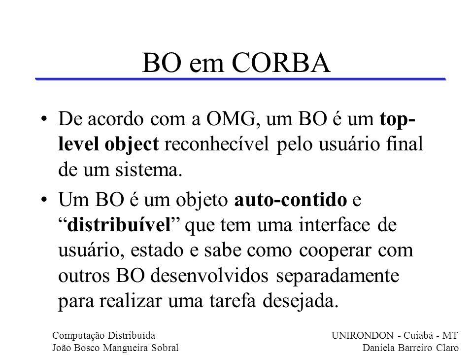 BO em CORBA De acordo com a OMG, um BO é um top-level object reconhecível pelo usuário final de um sistema.