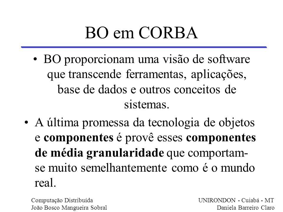 BO em CORBA BO proporcionam uma visão de software que transcende ferramentas, aplicações, base de dados e outros conceitos de sistemas.