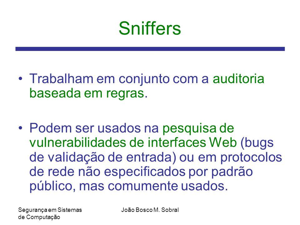 Sniffers Trabalham em conjunto com a auditoria baseada em regras.