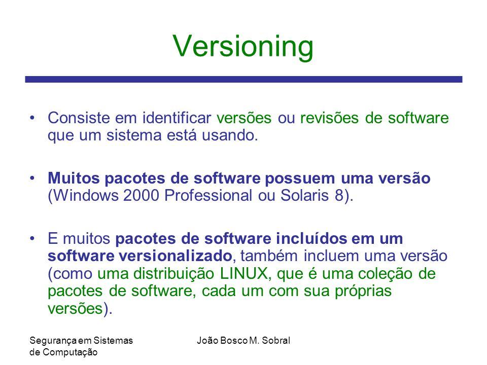 Versioning Consiste em identificar versões ou revisões de software que um sistema está usando.