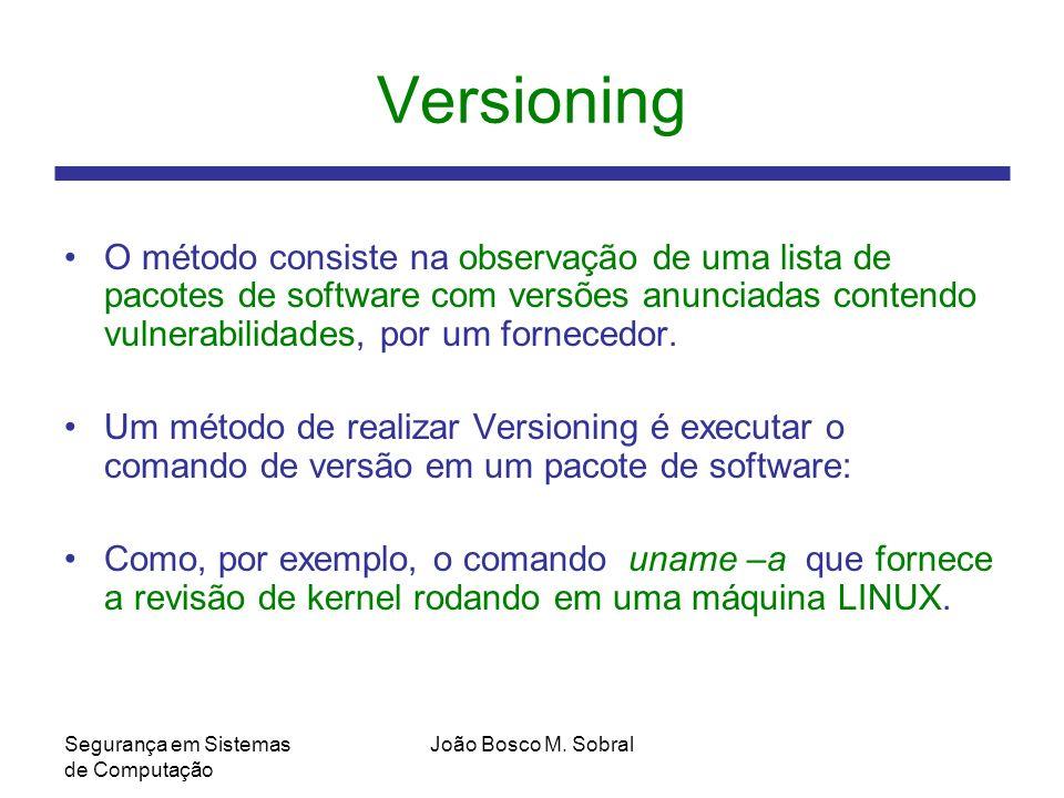 Versioning O método consiste na observação de uma lista de pacotes de software com versões anunciadas contendo vulnerabilidades, por um fornecedor.
