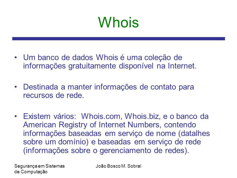 Whois Um banco de dados Whois é uma coleção de informações gratuitamente disponível na Internet.
