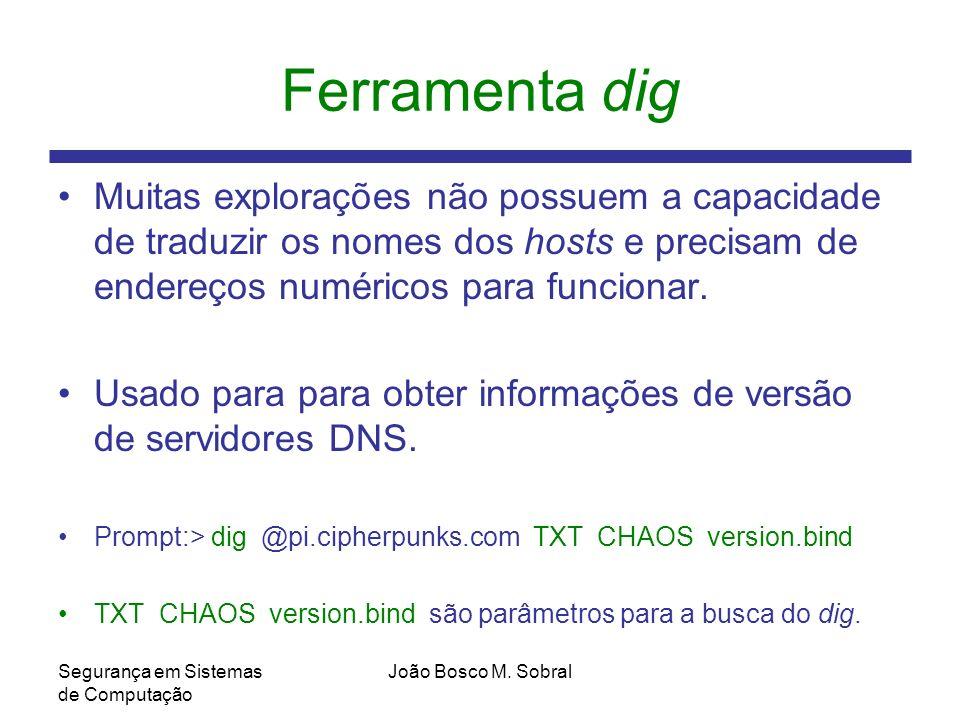 Ferramenta dig Muitas explorações não possuem a capacidade de traduzir os nomes dos hosts e precisam de endereços numéricos para funcionar.