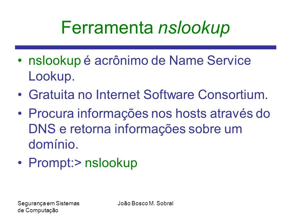 Ferramenta nslookup nslookup é acrônimo de Name Service Lookup.