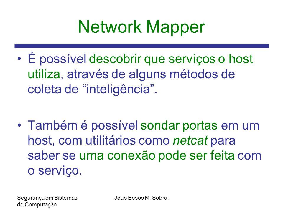 Network Mapper É possível descobrir que serviços o host utiliza, através de alguns métodos de coleta de inteligência .