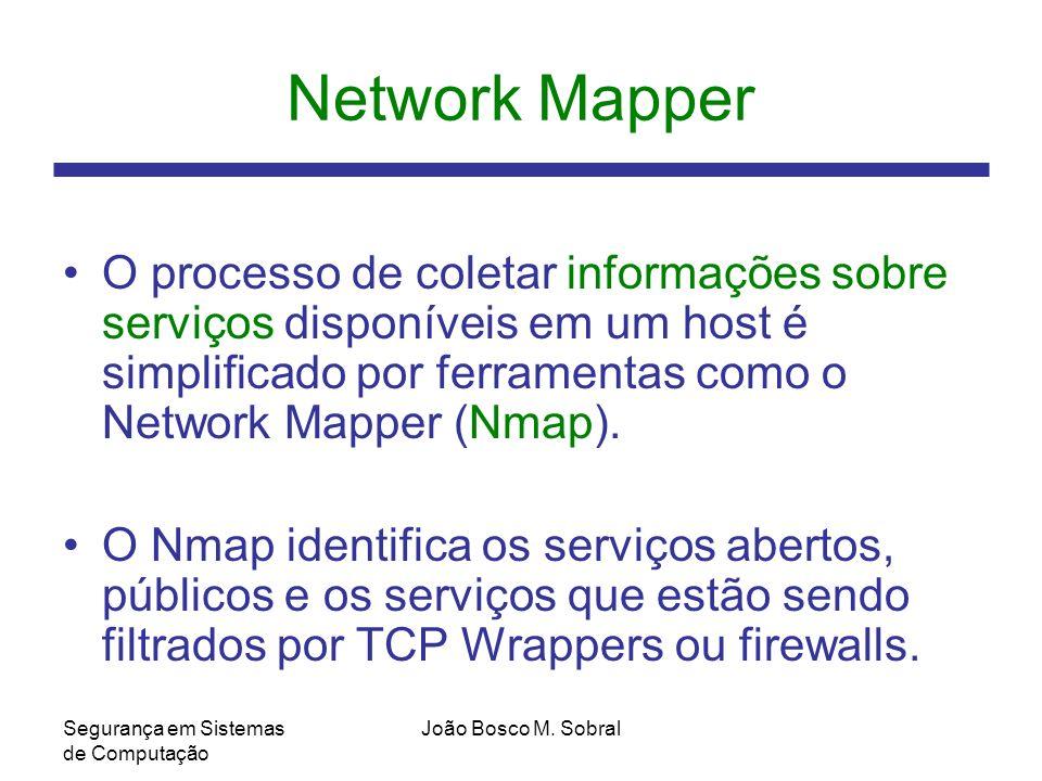 Network Mapper O processo de coletar informações sobre serviços disponíveis em um host é simplificado por ferramentas como o Network Mapper (Nmap).