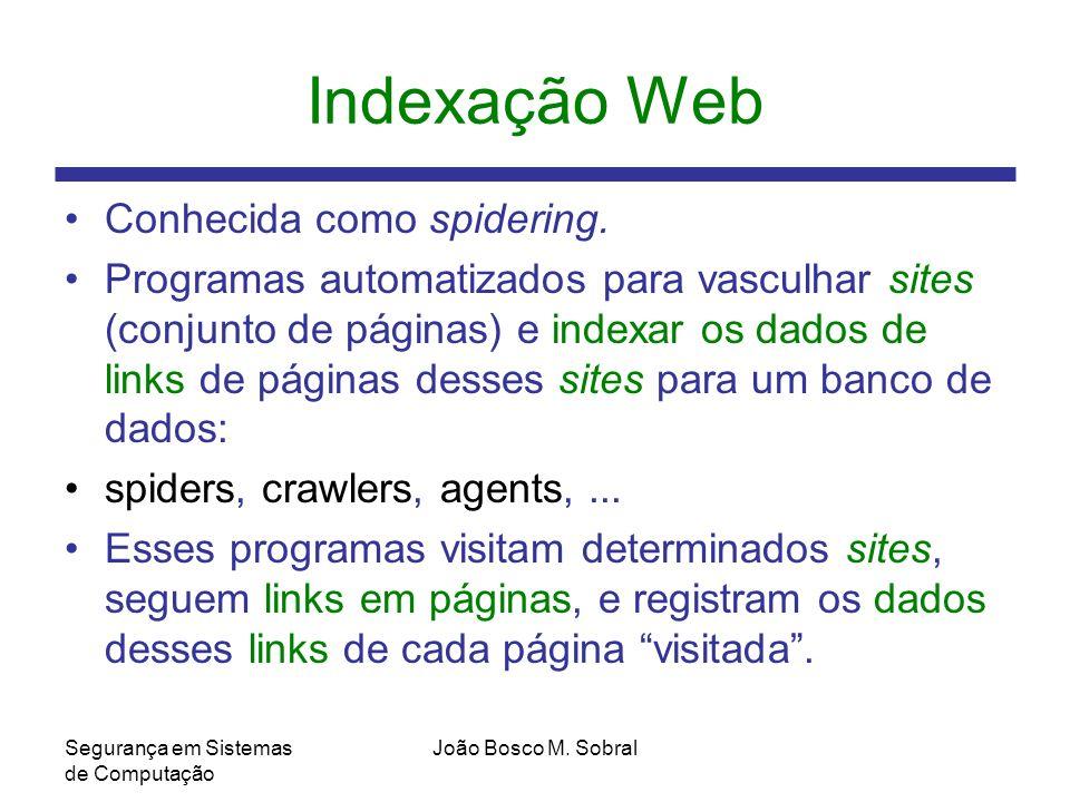 Indexação Web Conhecida como spidering.