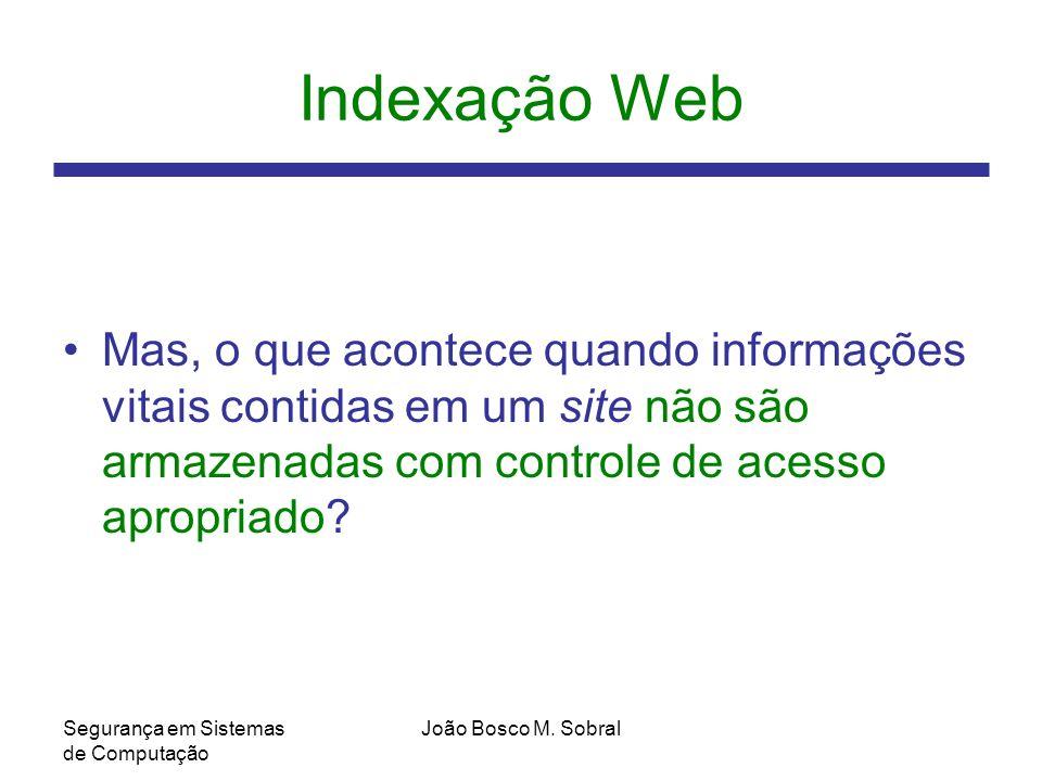 Indexação Web Mas, o que acontece quando informações vitais contidas em um site não são armazenadas com controle de acesso apropriado